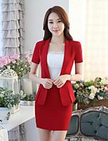Women's Work Simple Spring Summer Suit,Solid Shirt Collar Short Sleeve Regular Cotton
