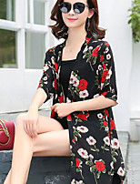 Women's Casual/Daily Sexy Summer Trench Coat,Geometric Shirt Collar ½ Length Sleeve Long Polyester