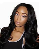 жен. Парики из натуральных волос на кружевной основе Натуральные волосы Лента спереди 130% плотность Естественные кудри Парик Черный как