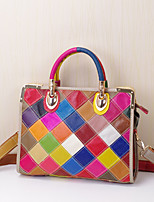 Women Bags All Seasons Cowhide Tote with Plaid Split Joint for Event/Party Casual Formal Office & Career Outdoor Rainbow