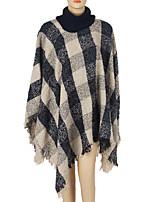 Women Vintage Cloak Cape Bohemian Tassels Fringed Shawl Wrap Scarf Wool Acrylic Rectangle Plaid  Spring Fall High Collar Beige/Red/Black