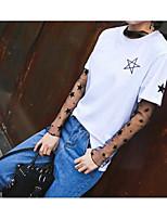 Damen Stickerei Street Schick Lässig/Alltäglich T-shirt,Rundhalsausschnitt Sommer Kurzarm Baumwolle