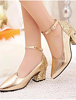Women's Shoes PU Fall Comfort Heels With For Casual Gold Red
