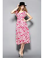 Для женщин На каждый день Оболочка Платье С принтом,V-образный вырез Средней длины С короткими рукавами Хлопок Лето Со стандартной талией