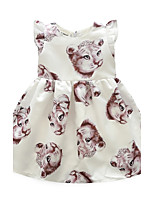 Robe Fille de Motif Animal Coton Printemps Eté Sans Manches