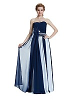 A-Line Strapless Floor Length Chiffon Party Dress with Draping