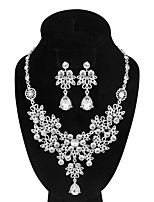 Women's Drop Earrings Necklace AAA Cubic Zirconia Vintage Luxury Elegant  Rhinestone Flower Shape Jewelry Set For Wedding Engagement Ceremony