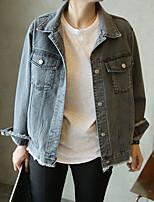 Veste en jean Femme,Couleur Pleine Décontracté / Quotidien simple Eté Manches longues Col de Chemise Court Autres