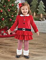 Girls' Solid Striped SetsCotton All Seasons Chirstmas Long Pant Clothing Set