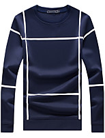 Men's Plus Size Fashion Slim Round Neck Big Plaid Sweatshirts Cotton Spandex