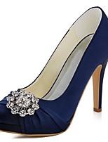 Women's Heels Basic Pump Stretch Satin Spring Fall Wedding Dress Crystal Stiletto Heel Ivory Dark Purple Light Pink Green Dark Blue4in-4