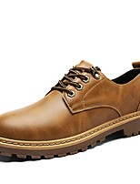 Men's Oxfords Driving Shoes Formal Shoes Spring Fall Synthetic Microfiber PU Casual Office & Career Lace-up Flat Heel Brown Yellow Gray