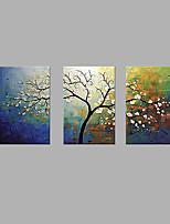 Ручная роспись Цветочные мотивы/ботанический Вертикальная,Художественный 3 панели Холст Hang-роспись маслом For Украшение дома