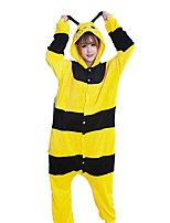 kigurumi Pyjamas Abeille Fête / Célébration Pyjamas Animale Halloween Mode Rayure Brodée Flanelle Costumes de Cosplay Kigurumi PourCouple