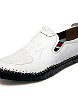 Hombre Zapatos de taco bajo y Slip-Ons Mocasín Primavera Otoño Invierno Cuero de Napa Casual Fiesta y Noche Blanco Negro Marrón Claro