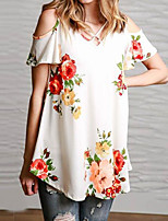 Women's Holiday Going out Casual/Daily Sexy Simple Street chic Summer Fall T-shirt,Floral V Neck Short Sleeve Polyester Thin