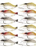 12 pcs leurres de pêche Leurre souple Jerkbaits Ecrevisses / Crevette g/Once,90 mm/3-1/2