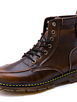 Men's Boots Combat Boots Fall Winter Nappa Leather Casual Outdoor Office & Career Party & Evening Light Brown Ruby Black Under 1in