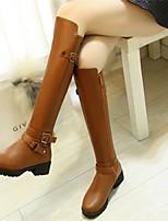 Для женщин Обувь Полиуретан Осень Зима Удобная обувь Ботинки Назначение Повседневные Черный Коричневый