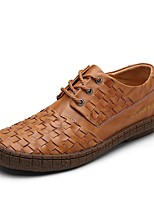 Men's Oxfords Moccasin Comfort Light Soles PU Spring Fall Casual Lace-up Flat Heel Light Brown Black Flat