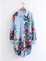 Для женщин На выход На каждый день Лето Рубашка Рубашечный воротник,Секси Простое Уличный стиль Цветочный принт Вышивка Длинный рукав,