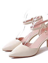Women's Shoes PU Spring Summer Comfort Heels With For Casual White Black Blushing Pink