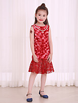 Girl's Print Dress,Cotton Polyester Summer Fall Sleeveless