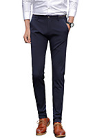 Men's Mid Rise Micro-elastic Suit Chinos PantsSimple Straight Slim Solid UK-310