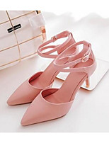 Women's Shoes PU Summer Comfort Heels For Casual White Beige Blushing Pink