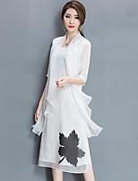 Для женщин На выход На каждый день Большие размеры Простое Свободный силуэт Шифон Платье С принтом,Круглый вырез Средней длиныРукав до