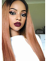Human Hair Straight Lace Front Wigs 100% Real Brazilian Hair Ombre Black Roots 1B/33 Color 130% Density Wig For Black Women