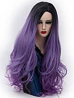 Women Synthetic Wig Capless Long Natural Wave Dark Purple Ombre Hair Natural Wig Party Wig Halloween Wig Carnival Wig Costume Wigs