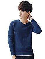 Для мужчин На каждый день Офис Большие размеры Винтаж Простое Уличный стиль Обычный Пуловер Однотонный Полоски Контрастных цветов,Круглый