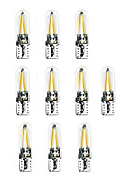 2W LED Car Lamp T10 W5W 2*COB Warm/Whitet/Red/Blue/Purple/Green Light/Ice Blu-Ray AC/DC12V 10Pcs