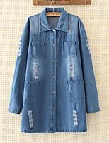 Feminino Jaqueta jeans Para Noite Casual Simples Activo Moda de Rua Primavera Outono,Sólido Longo Outros Colarinho de Camisa Manga Longa