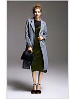 Для женщин На выход Зима Пальто Рубашечный воротник,Уличный стиль Полоски Длинная Длинный рукав,Полиэстер