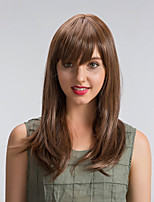 Romantic Beautiful Brown Color Oblique Fringe Long Hair Synthetic Wigs