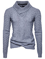 Для мужчин Спорт На каждый день Офис Простое Активный Шинуазери (китайский стиль) Обычный Пуловер Однотонный,Хомут Длинный рукав Хлопок