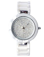 Women's Fashion Watch Pave Watch Quartz Ceramic Band White