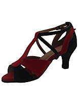 Women's Latin Nubuck leather Heels Performance Chunky Heel Ruby