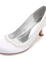 Mujer Zapatos de boda Confort Pump Básico Satén Primavera Verano Boda Vestido Fiesta y Noche Perla Perla de ImitaciónTacón Bajo Tacón