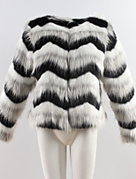 Women's Party Plus Size Casual/Daily Simple Vintage Cute Winter Fur Coat,Striped Round Neck Long Sleeve Regular Faux Fur