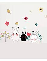 Cute Cartoon Rabbit Wall Stickers Flowers Tree with Lovely Hare Wall Decals Home Decor For Baby Kids Room Living Room