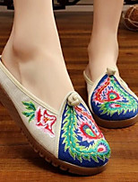 Women's Shoes Fabric Summer Comfort Slippers & Flip-Flops For Casual Beige Red Green