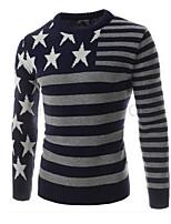 Standard Pullover Da uomo-Casual Semplice Tinta unita Fantasia geometrica Monocolore Rotonda Manica lunga Cotone Primavera AutunnoMedio