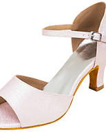 Women's Latin Faux Leather Sandals Performance Buckle Stiletto Heel Pink/White 3