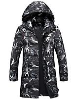 Men's Down Coat,Active Plus Size Leopard-Others White Duck Down Long Sleeve