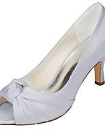 Feminino Sapatos De Casamento Plataforma Básica Cetim com Stretch Primavera Verão Casamento Festas & Noite Laço Salto AgulhaPrateado Azul