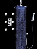 Contemporary Luxury LED Wall Mounted Sidespray Rain Shower Handshower Included with Three Handles Chrome Finish Shower Faucet Set High Quality