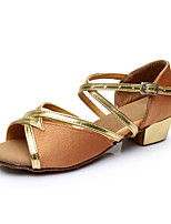 Women's Latin Silk Flats Indoor Buckle Customized Heel Brown Customizable